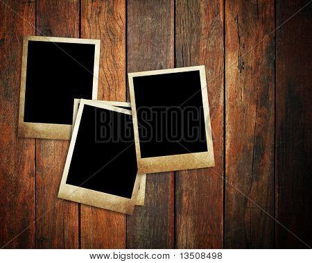 vintage photo on wood plank