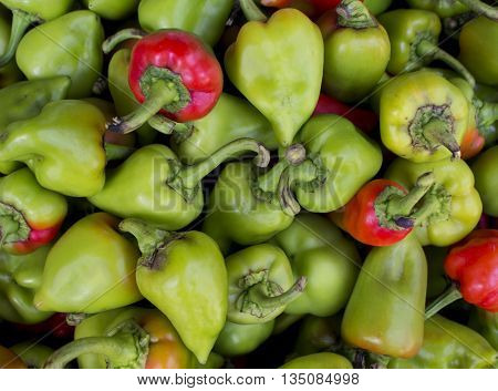 Green and red pepper, sweet pepper or paprika image, bunch of green and red paprika