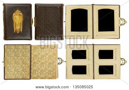 Cover and double pages of vintage photo album (circa 1900) with clasp and brass engraved decoration isolated on white contains clipping paths for all elements including photo frames