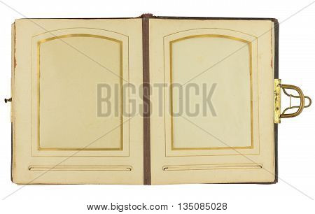 Double page of vintage photo album (circa 1900) with clasp and two frames for inserting photos isolated on white background contains working paths for all elements including photo frames