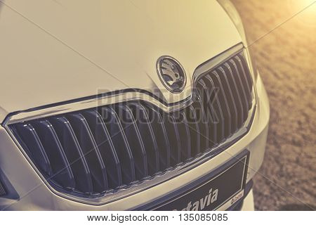 Wroclaw, Poland, May 28, 2016: Close Up On Skoda Octavia Sign On Motoshow On May 28, 2016 In Poland