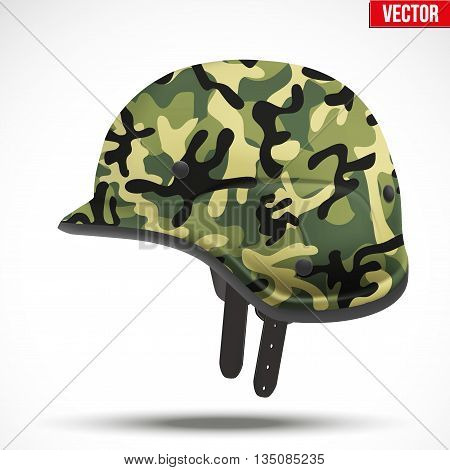 Military modern camouflage helmet. Side view. Army symbol of defense. Vector Illustration Isolated on white background.