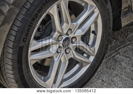 Wroclaw, Poland, May 28, 2016: Close Up On Ford C-max Sigh On Wheel On Motoshow On May 28, 2016 In P