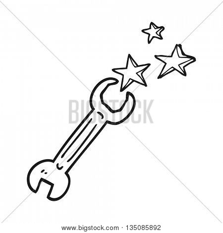 freehand drawn black and white cartoon spanner