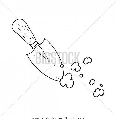 freehand drawn black and white cartoon garden trowel