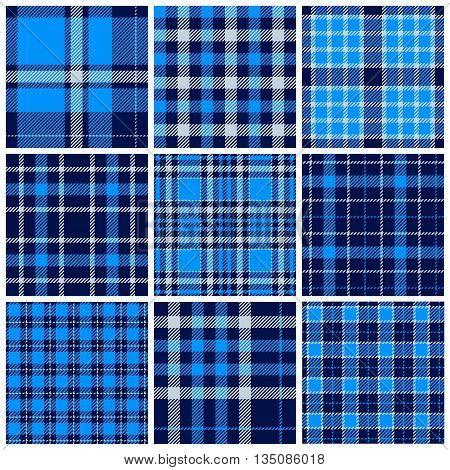 Set of plaid seamless patterns. Blue colors. Vector illustration