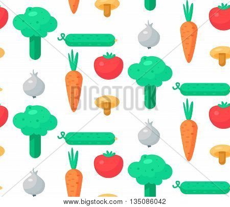 Fresh Vegetable Salad from tomato cucumber and cabbage carrot mushroom and garlic. Tasty food seamless pattern for print tablecloth and wrap fabric spread card banner. Vegan background. Vector