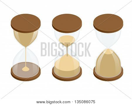 Collection of hourglasses on white background. Sand clock flat 3d vector isometric illustration