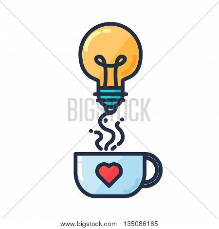 Great Idea Concept with Light Bulb Shape and cup of drinking. Thought and imagination symbol. Vector