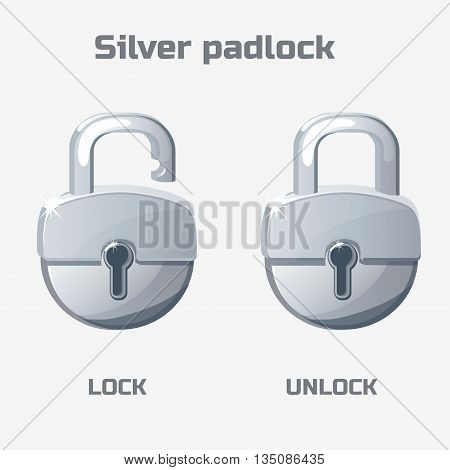 Cartoon silver padlock. Lock and unlock Vector icons