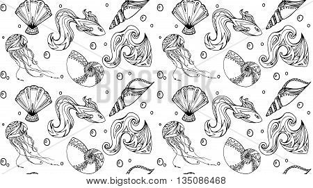 Seamless marine texture with fish and seashells decorated boho pattern. Vector background for your creativity