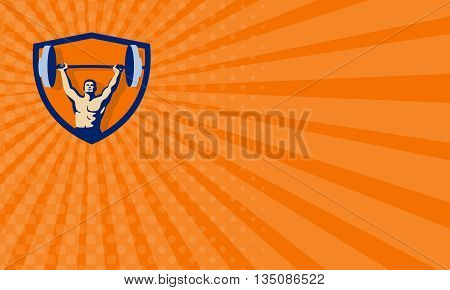 Business card showing illustration of a weightlifter lifting barbell weights with both hands viewed from front set inside shield crest done in retro style.