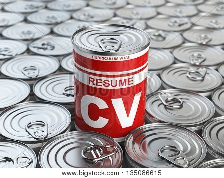 Cv curriculum vitae can.  Candidate job position. Conceptual image of resume or recruitment. 3d illustration