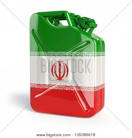 Oil of Iran. Iranian flag painted on gas can. 3d illustration