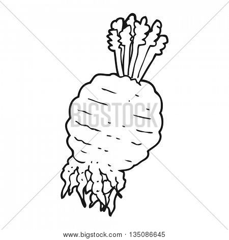 freehand drawn black and white cartoon muddy turnip