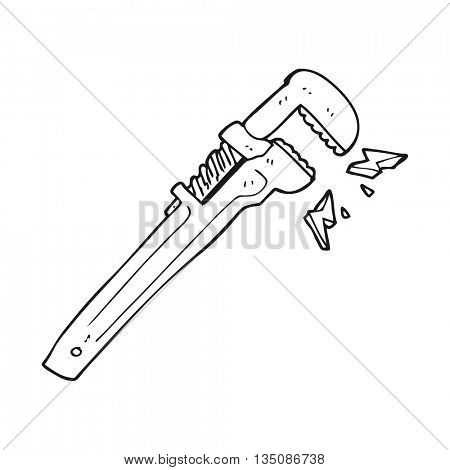 freehand drawn black and white cartoon adjustable wrench