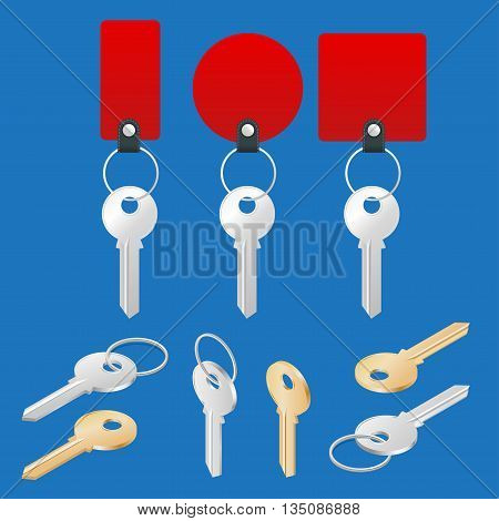 ollection of different house keys isolated on white background. Keys set. Flat 3d vector isometric illustration