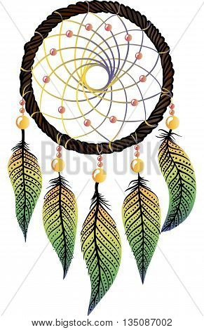 Hand-drawn native american dream catcher with osier, yellow-green feathers and  yellow and pink beads on a white background. Ethnic illustration, tribal