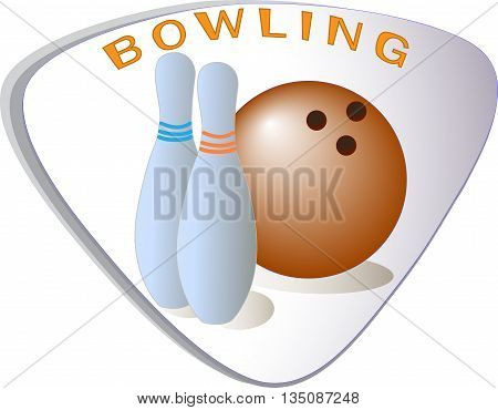 Vector icon. Bowling ball and ninepins.Summer sport.