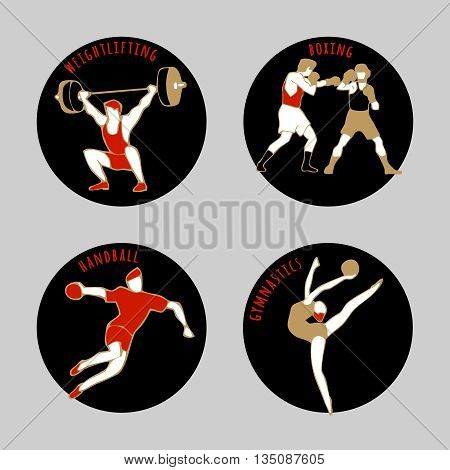 Vector illustration of Athletes. Boxing. Handball. Weightlifting. Artistic Gymnastics. Summer games. Round sports icons with sportsmen for competitions or championship design.