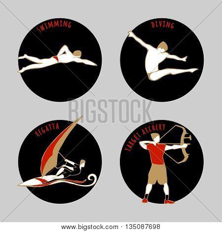 Vector illustration of Athletes. Swimming. Diving. Regatta. Target Archery. Summer games icons. Round sports icons set with sportsmen for any competition or championship design.