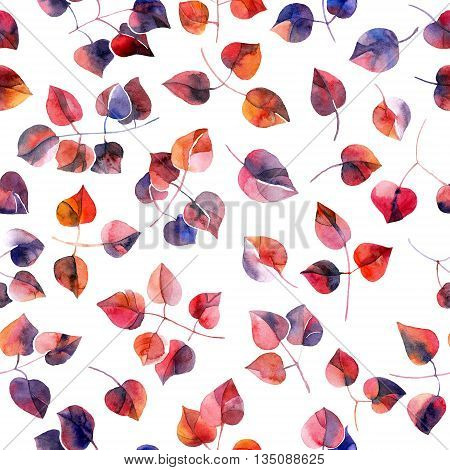 Rainbow colored leaves. Seamless pattern of foliage.