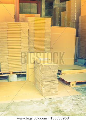 Carton boxes package before assembly  ( Filtered image processed vintage effect. )