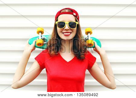 Fashion Pretty Cool Smiling Woman With Skateboard Over White Bac