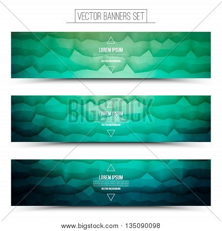 Abstract 3d vector polygonal waveform digital technology turquoise web banners set for business internet advertising ui seo