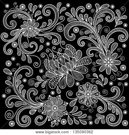 Illustration of abstract floral doodle lacy ornament in white color on black background