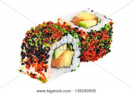 Uramaki maki sushi, two rolls isolated on white background. Multi colored tobiko, philadelphia cheese, avocado, salmon and nori