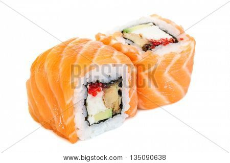 Uramaki maki sushi, two rolls isolated on white. Salmon with philadelphia, shrimp, avocado, eel and tobico
