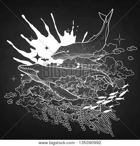 Graphic whales flying in the sky with ink splash on background. Sea and ocean creatures isolated on chalkboard. Vector fantasy art in black and white colors