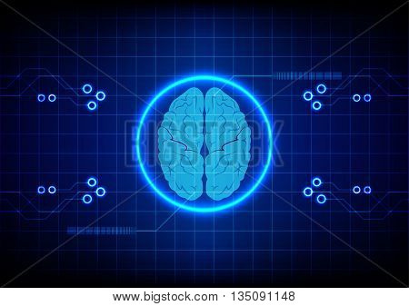 Abstract brain technology concept design background. illustration vector