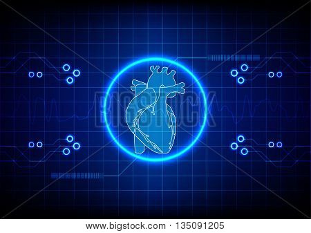 Abstract cardiology technology concept background. illustration vector