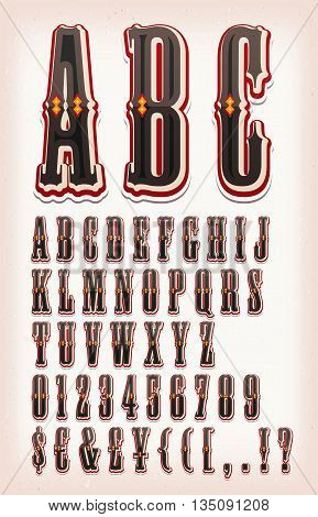 Illustration of a set of retro circus abc typefont with letters numbers currencies and special characters on vintage and grunge background