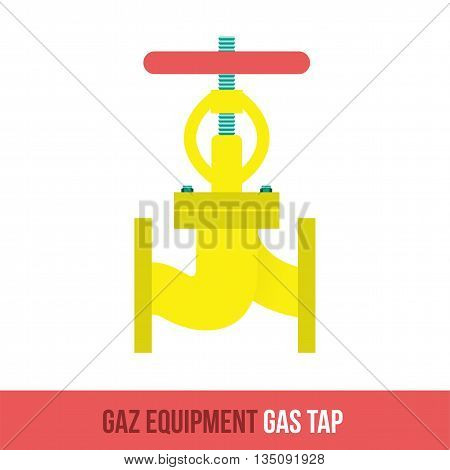 Vector flat icon gas equipment for the kitchen and bathroom. Gas tap. Web design, booklets, brochures, advertisements, manuals, technical descriptions. Isolated on a white background.