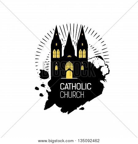 Catholic Cathedral Church silhouette with grunge splash. Religious temple abstract emblem design. Vector religious logo. Grunge illustration. Catholicism emblem.