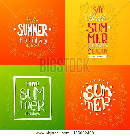 Set of summer holidays hand drawn posters or greeting card with handwritten typography quotes, phrase and words. Lettering quotes. Vector illustration.