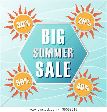 big summer sale text in blue hexagon and 20, 30, 40, 50 percentages off in orange suns, flat design label, business seasonal shopping concept banner, vector