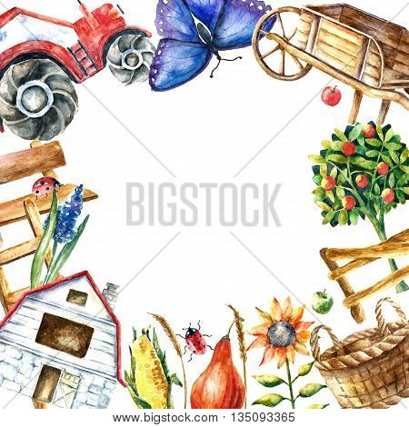 Watercolor organic farm round frame. Hand drawn objects tractor, sunflower, truck, fence, basket, butterfly, ladybug and spica with place for text.vector