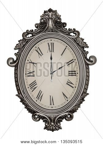Two o'clock. Antique wall clock isolated on white background.