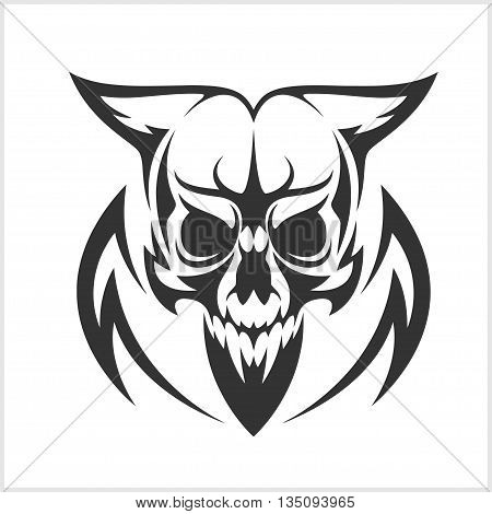 Skull tattoo and tribal design - isolated black on white