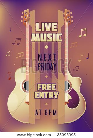 Musician concert show poster with acoustic guitar. Vector illustration. vector poster template. Printable concert promotion in bars, bars, public places.