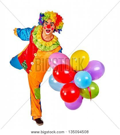 Happy birthday clown holding bunch of balloons and shows clown . Isolated.