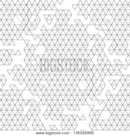 Abstract graphic seamless pattern with triangles drawn in line art style.  Coloring book page design