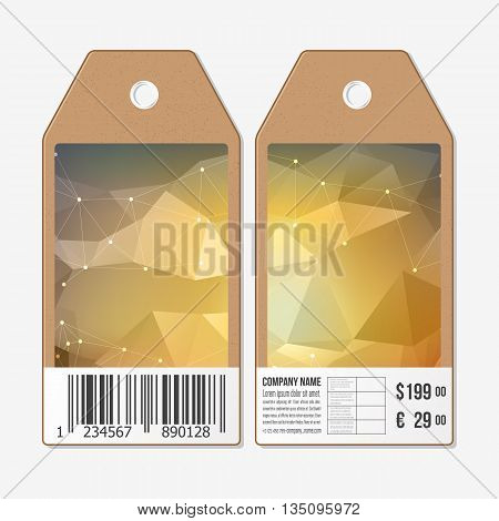 Vector tags design on both sides, cardboard sale labels with barcode. Abstract geometric colorful triangle design.