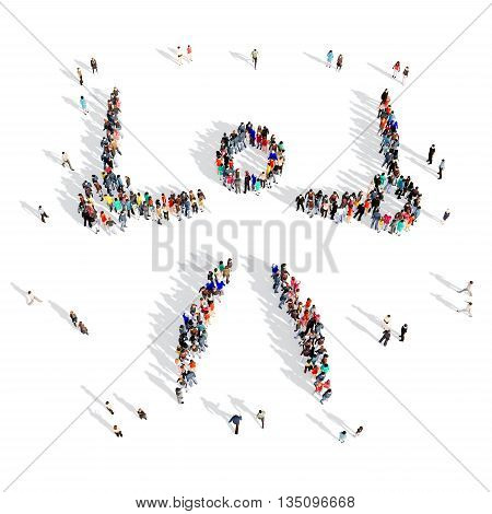 Large and creative group of people gathered together in the shape of man, gymnast, sport, gymnastics. 3D illustration, isolated, white background.