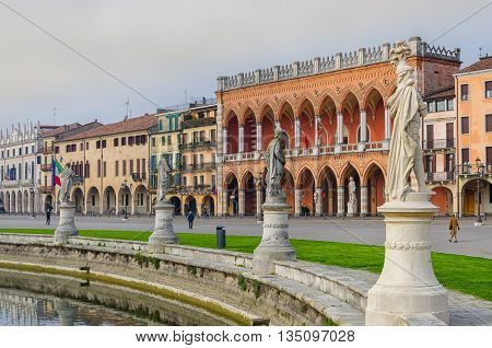 The Piazza Prato della Valle and the Basilica of Santa Giustina, in Padua, Veneto, Italy