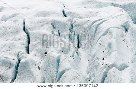Unrecognized people hiking on the Vatna Glacier in Iceland
